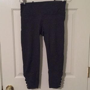 Gray Cropped Leggings w/Calf embellishments